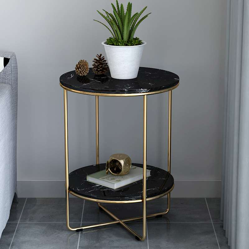 Nordic marble tea table light luxury round table simple sofa corner several creative new small family side cabinet