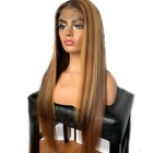 Invisible Knots Honey Brown Blonde Highlight Fake Scalp Straight Cuticle Aligned Hair Lace Frontal Wigs