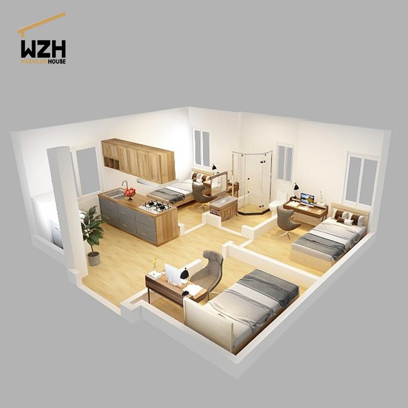 Светильник, желтый деревянный контейнер для дома с 2 спальнями, кухни и ванной комнаты
