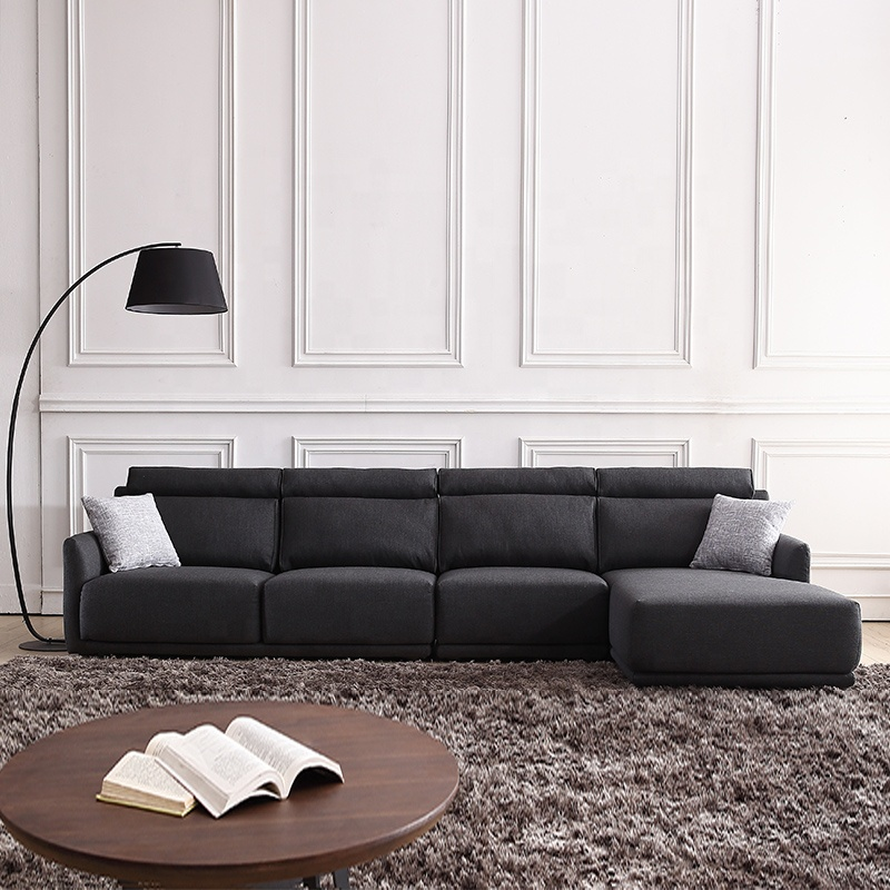 Sofá de esquina en forma de l de tela de madera de color negro oscuro para sala de estar