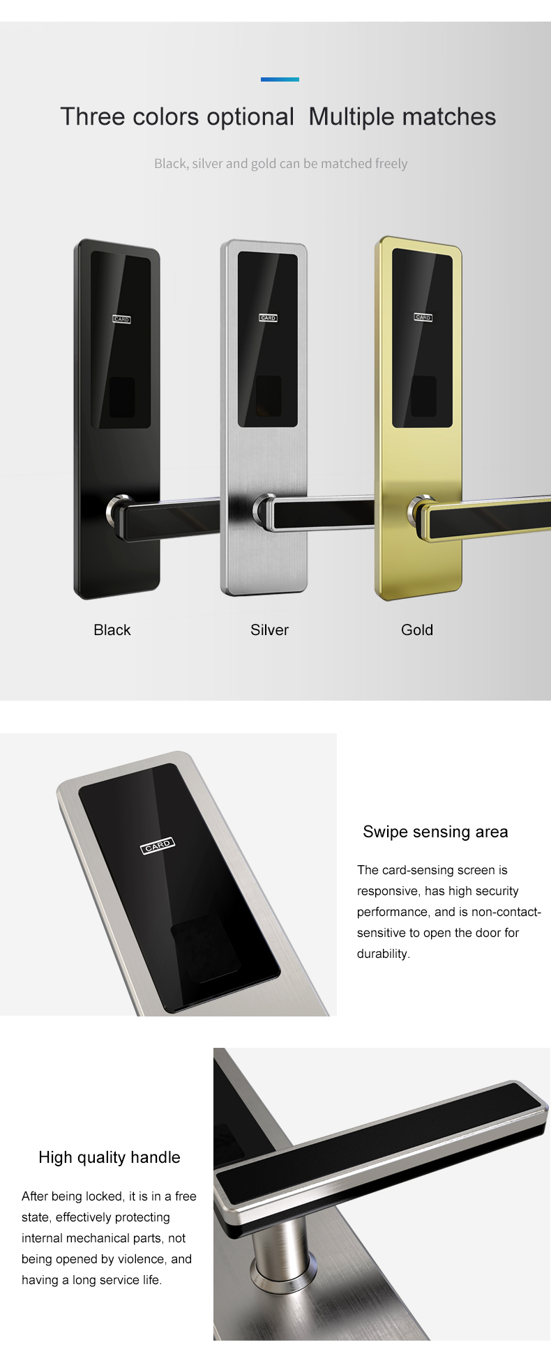 5-lock tongue structure weatherproof RFID hotel door locks for apartment hotel residence guesthouse