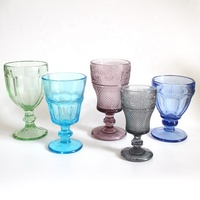 Embossed solid colored wine glass goblet wedding goblet