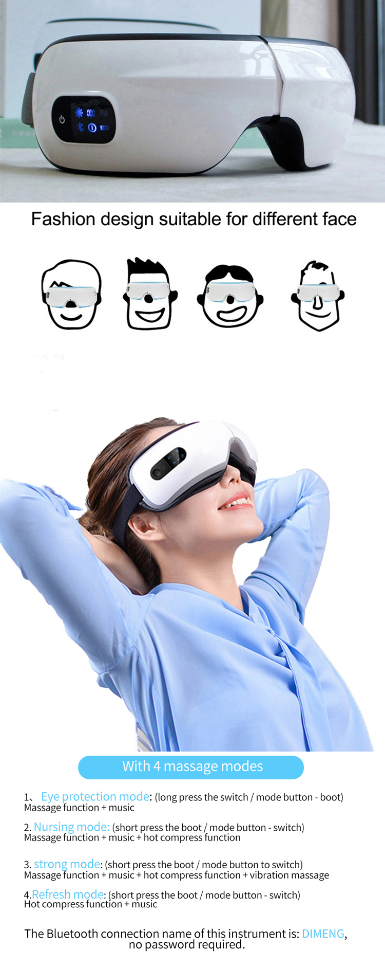 New product 2019 multifunction galvanic  care eye massager
