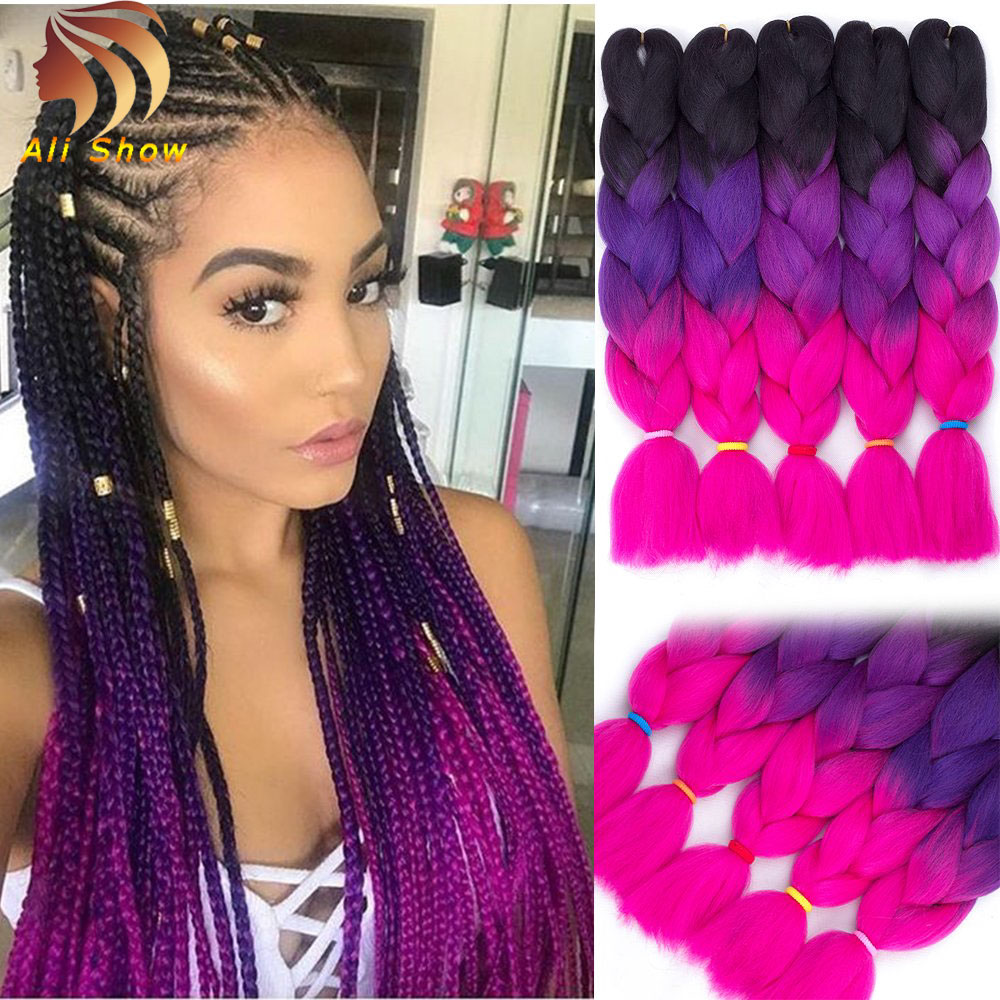 "Ali Show Ali Show Best Selling Ombre Jumbo Braid  24"" 100g Braiding Hair 41""165g Jumbo Box Braids Perm Yaki Hair Extensions"