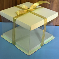 KCCB transparent Custom cake box packaging Clear Decorative festival wedding Square Cake Box with logo Food Grade