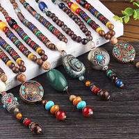 New wholesale brass Buddhist Mala Wood Beads Necklace Ethnic Horn Fish Long Statement bohemia Necklace Handmade Nepal Jewelry
