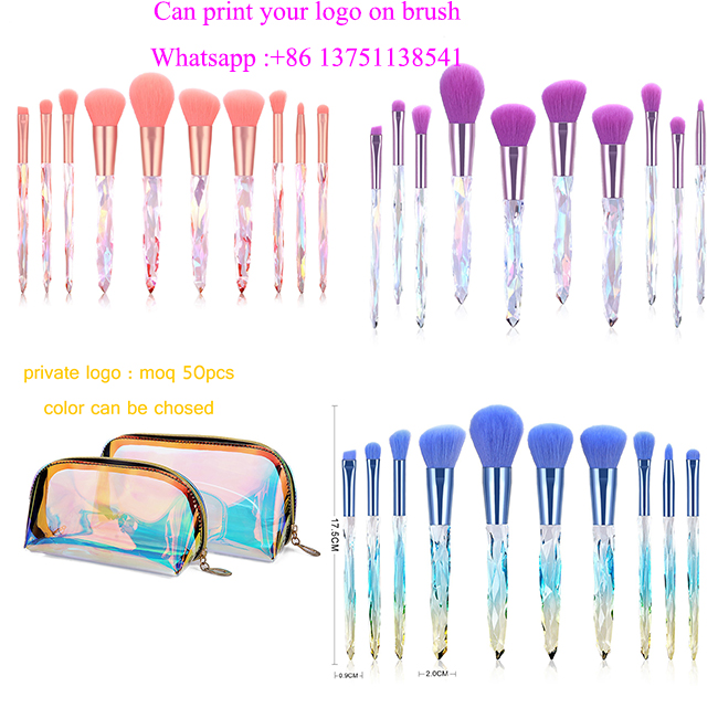 2019 Jual Panas 10 Buah Potongan Kristal Kuas Makeup Transparan Kristal Handle Makeup Brush Set