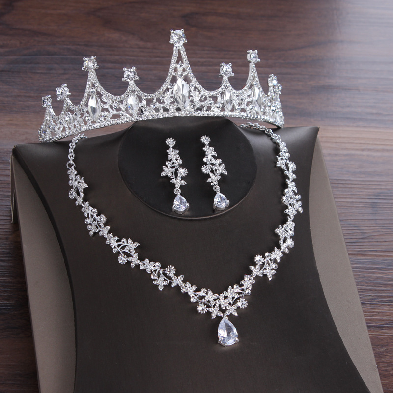 2020 New Crystal Bridal Jewelry Sets for Women Rhinestone Necklace Earrings Bracelet Wedding Bridesmaid