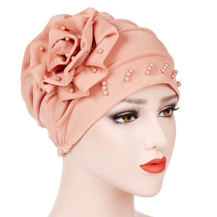2019 Latest Style Fashion Women Muslim Head Cap with Pearls Beaded Flower Turban Hijab Hat