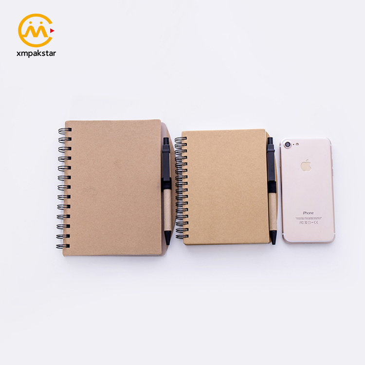 Wholesale OEM eco-friend A5 spiral Kraft paper cover journal notebook with pen holder
