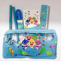 Hot Selling 7pcs Baby Shark Pencil Bag Set Eraser Sharpener Notebook Blue Baby Shark Pencil Case for Kids Birthday Party Favors