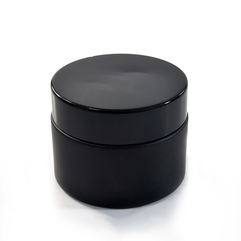 Hot sale 50g matte frosted black cosmetic glass cream containers bottles jars with lid