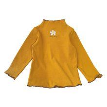 Детская футболка для девочек; Повседневная универсальная хлопковая Футболка с высоким воротником и длинными рукавами с цветочным принтом(Китай)
