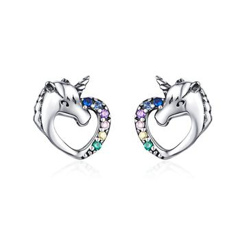 2019 Qings ODM/OEM Fashion Earrings Unicorn Earrings 925 Sterling Silver Zircon Stud Earrings With High Quality