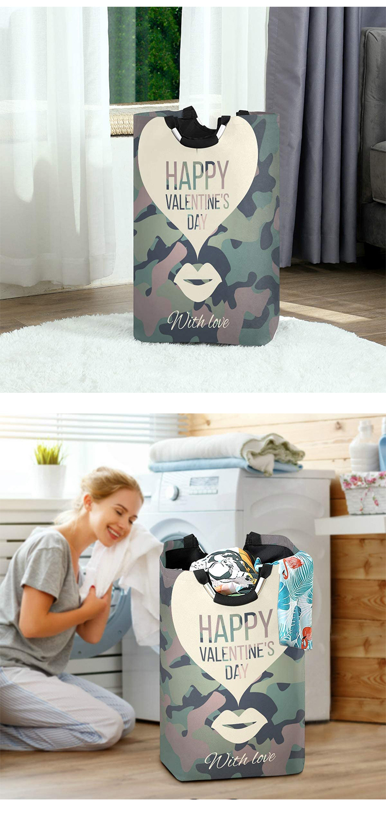Large Laundry Bags for Heavy-Duty Use with Aluminum Handles, Collapsible Fabric Laundry Basket, Foldable Clothes Bag