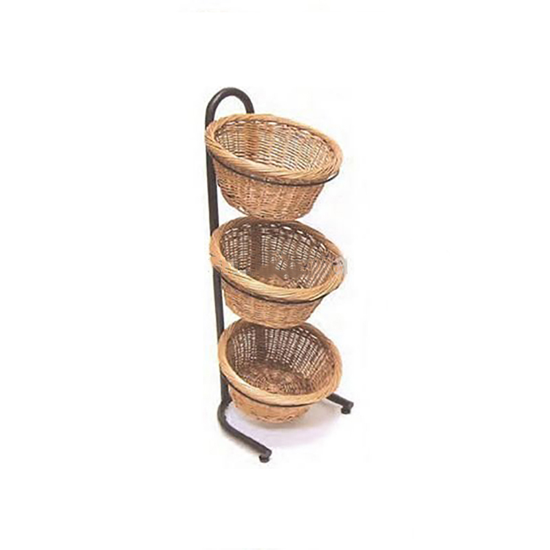 S D 3 Tiers Mobile Pe Wicker Basket For Fruit Vegetable Display Stand Tier Product On