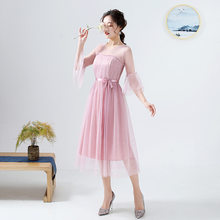 Красные Платья для подружек невесты, платья средней длины для свадебной вечеринки 2020, ROM80212(Китай)
