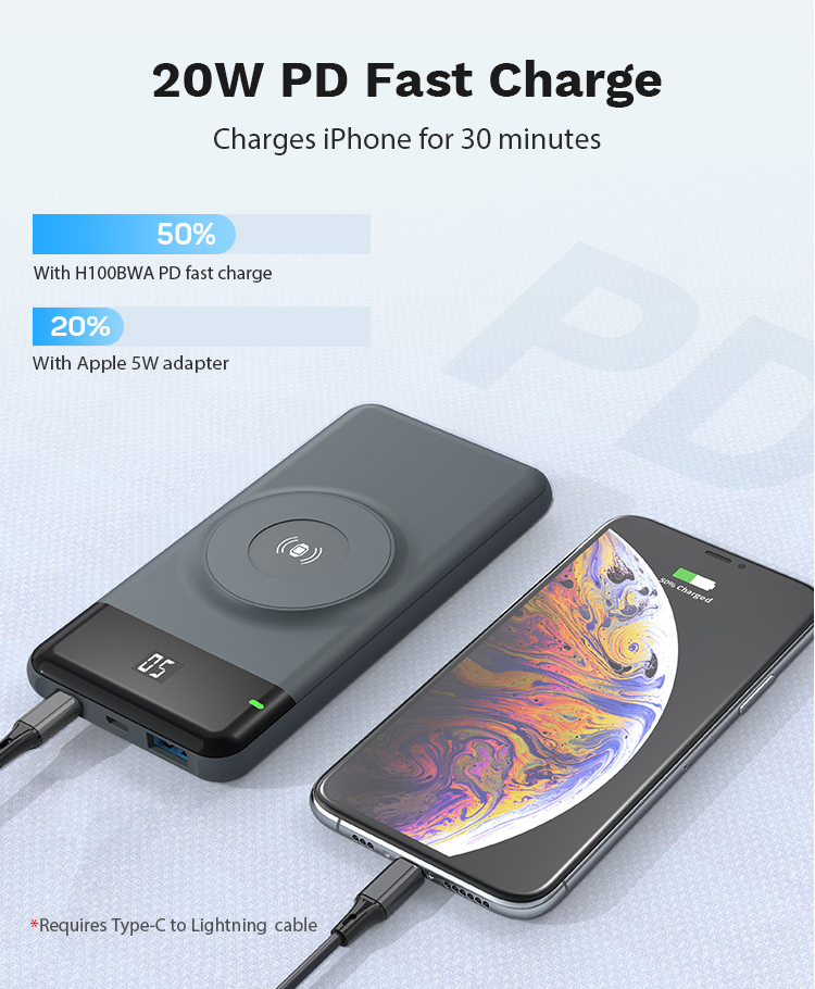 2020 Trend Product 10000mAh Wireless Charging Power Bank 2 in 1 Apple Watch Charger
