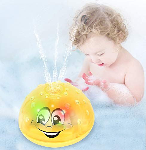 Water Baby Bath Toy Waterproof Light-up Induction Sprinkler Toys with Colorful Lights & Automatic Spray Water Function Bath Toy