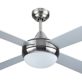 52 inch House Decorative Modern Brushed Nickel Ceiling Fan with Single Light, 4 Plywood Blades, include Wall Control