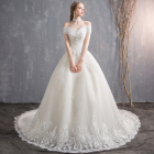JKM002 off shoulder french lace woman luxury ball gown best wedding dresses