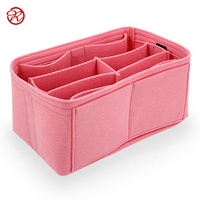 2019 Multi-pockets Felt Bag Organizer Durable Color Felt Makeup Bag Portable Lady Travel Cosmetic Organizer