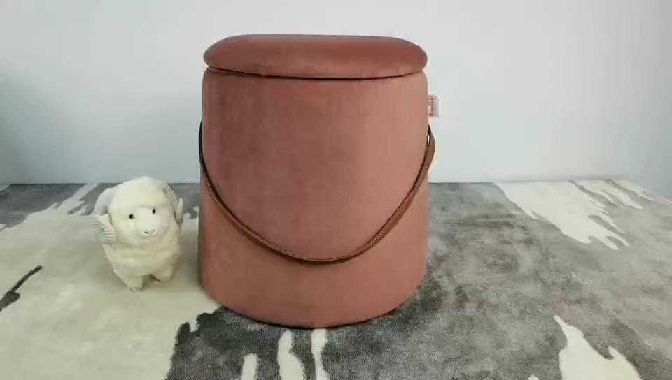 High quality holland velvet ottoman storage home stools seat box