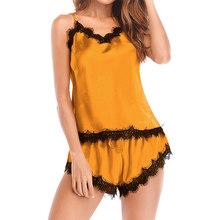 Женские пижамные комплекты, кружевной топ без рукавов в стиле пэчворк, шорты с бантом, комплект из 2 предметов, Женская домашняя одежда, 2020, л...(Китай)