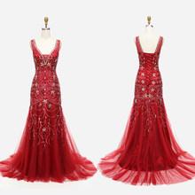Элегантное вечернее платье русалки, расшитое бисером, с v-образным вырезом, цвета шампанского, вечерние платья, бесплатная доставка(Китай)