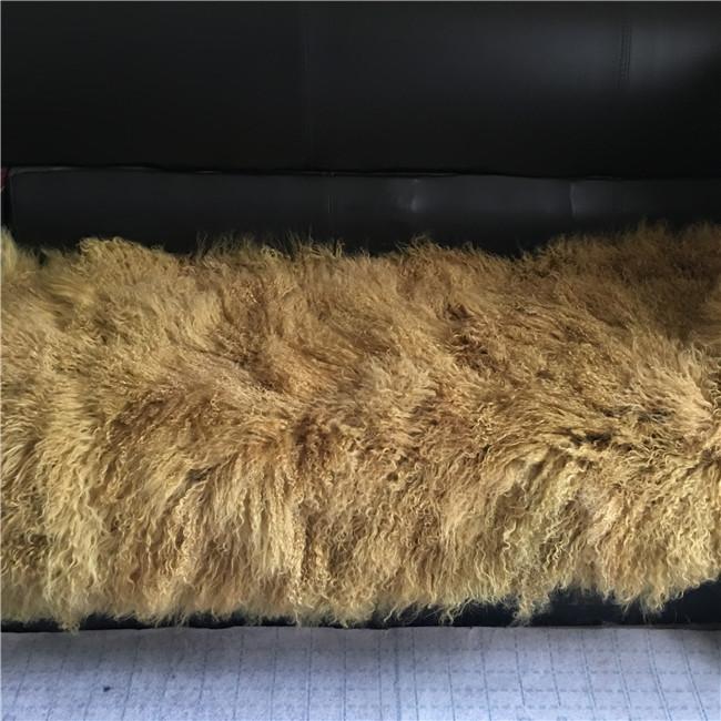 Long haired mongolian fur cushion for floor