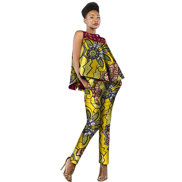 African Dress Women 2 Pieces Set Women Sleeveless and Casual Tops Dashiki Print Pants African Women Clothing WY2339