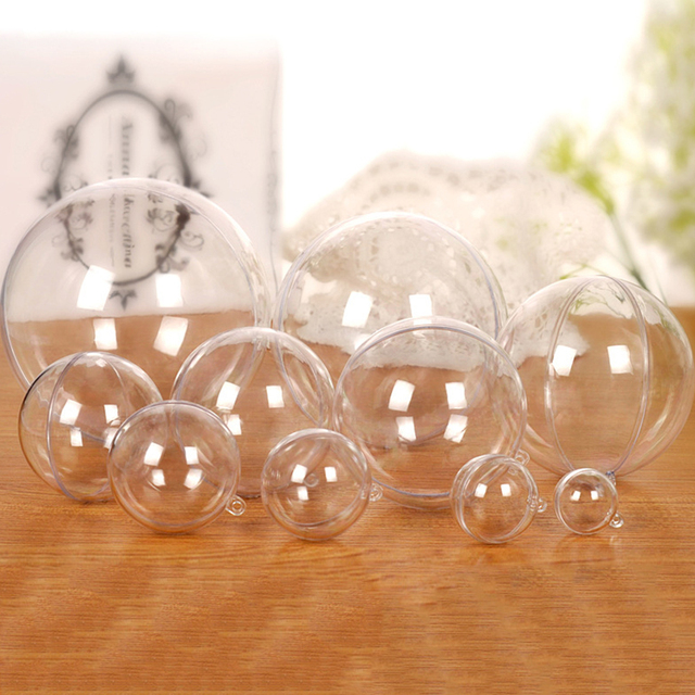 Openable hollow Hanging clear, transparent Xmas Christmas Ornaments Plastic Ball 4CM-40CM/
