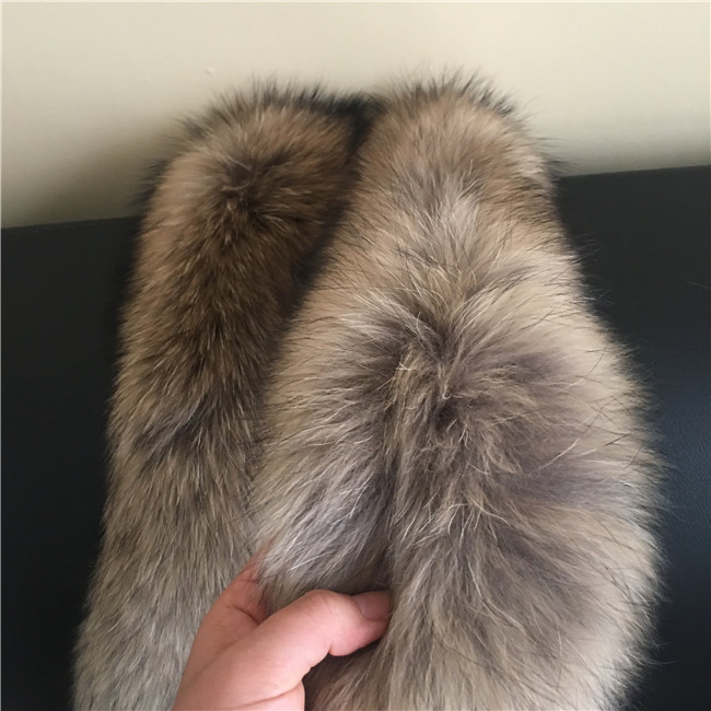 Red color Women Large Real Raccoon Fur Collar