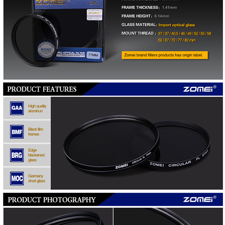 Zomei Digital Camera Filter Lens Circular-polarizing CPL Filter