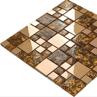 3D metal mosaic + glass mosaic