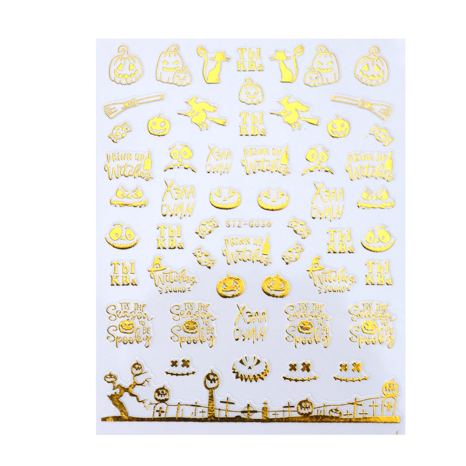 Nail Art Stickers Gouden Schedel Patroon Diy Decoratie Stickers