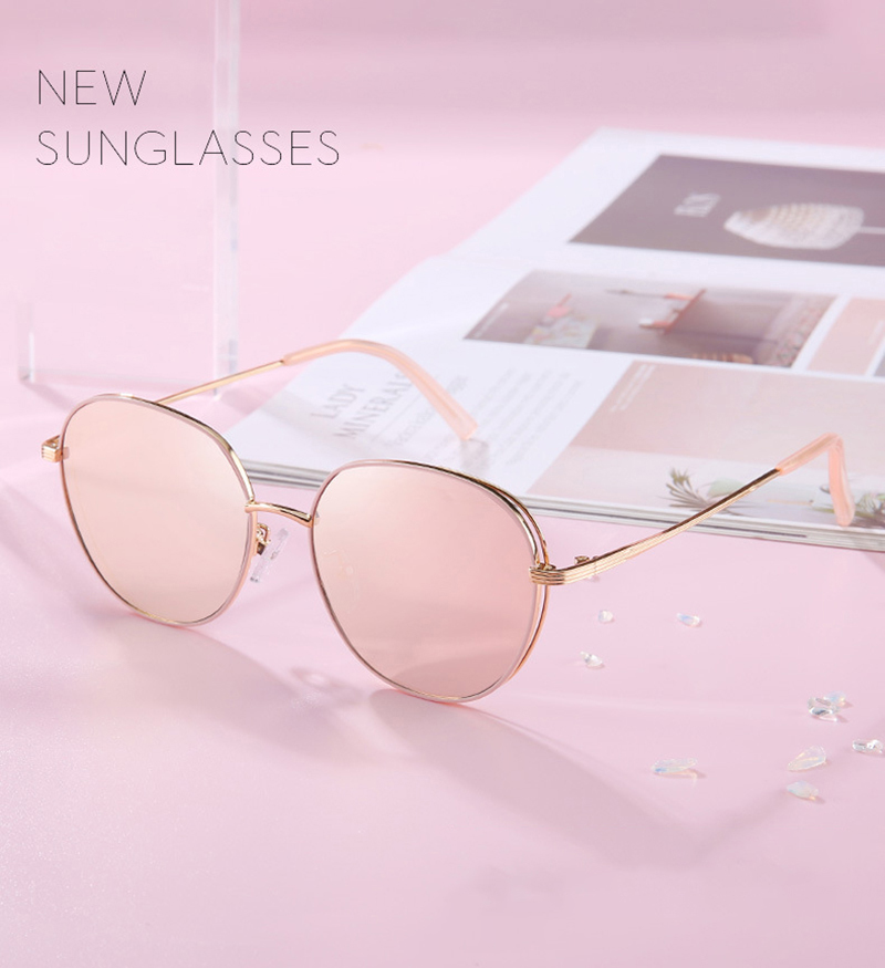 Vintage Round Metal Frame PC 100% UV Protection Retro Women Sunglasses
