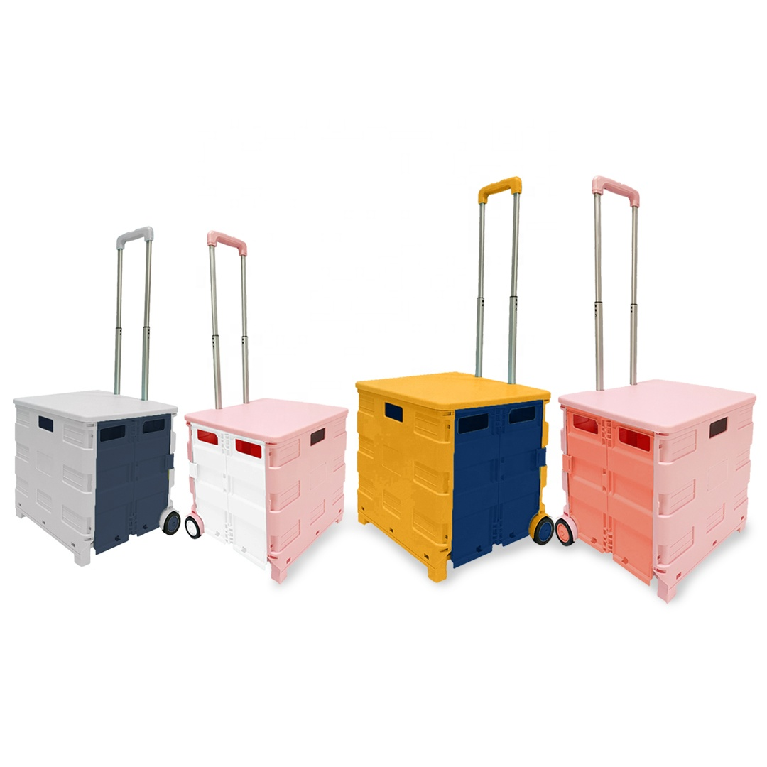 cute Mobile Pink Rolling Garden Work Seat Diy Trolley Portable Tool Folding Pull Vegetable Plastic My Cart With Wheels