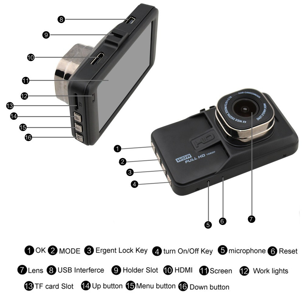 Yikoo OEM Dash Cam Small Size 3 inch Screen Plastic Single Cam Car Video Recorder 140 Degree Wide-angle Car Black Box