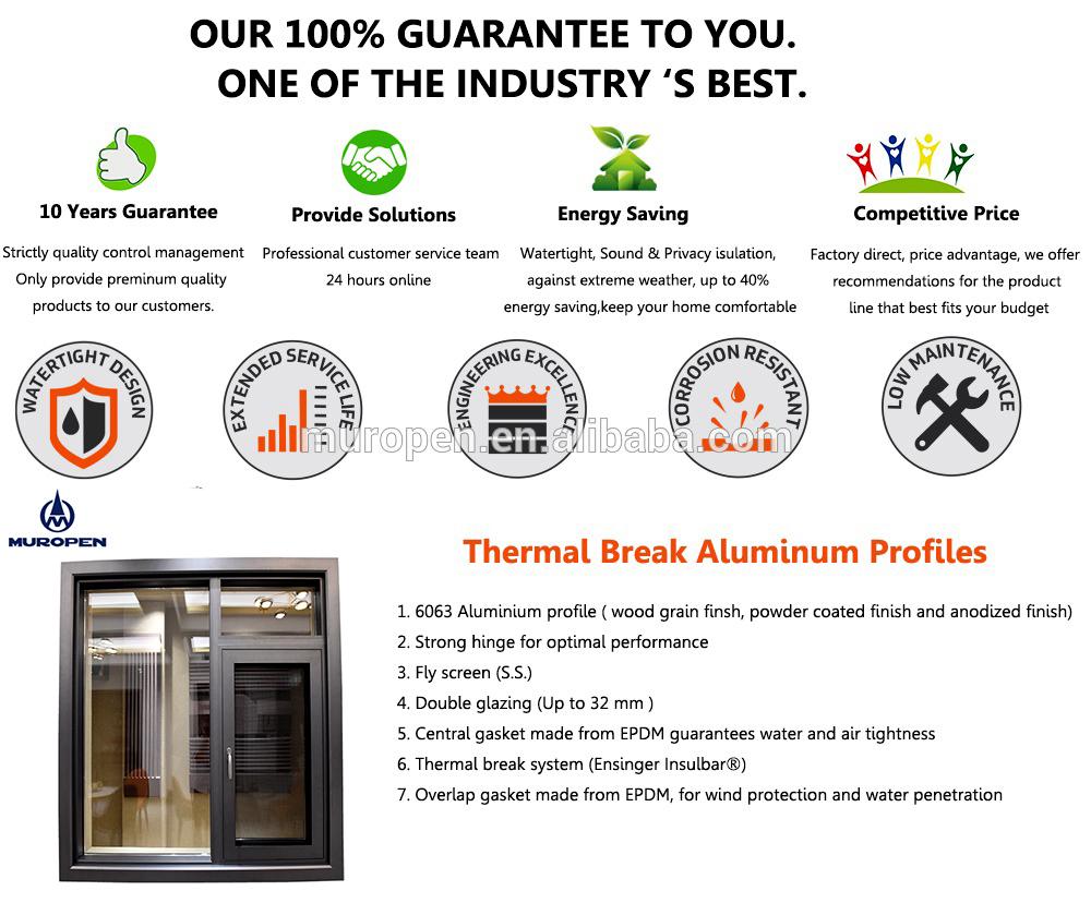 AU & NZ standards energy saving aluminium casement window with blinds inside