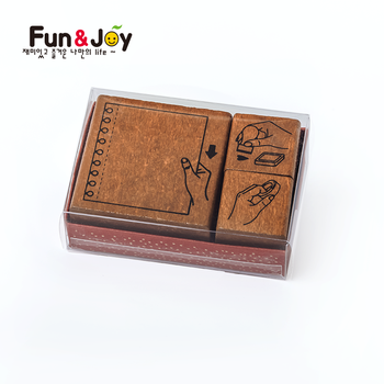 Wholesale rubber stamps Fun&Joy Cheap Personalized Custom Made Decorative Assorted Kid DIY Art Toy Wooden Rubber Stamp Set