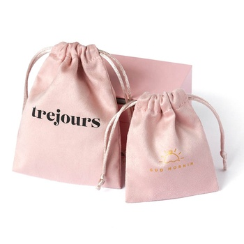 PandaSew 8*10 cm Fine Pink flannle bags with logo customized drawstring bag suede jewelry pouch