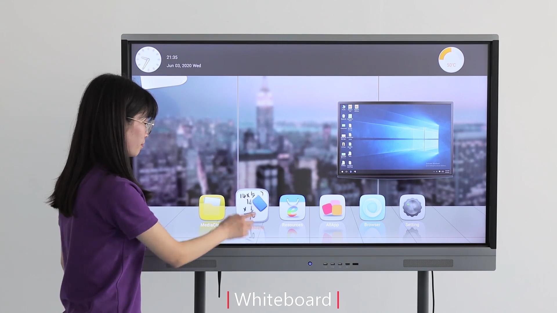 55 65 75 86 inch IR đa cảm ứng lcd hiển thị tương tác phẳng bảng điều khiển tất cả trong một máy tính cho giảng dạy hoặc cuộc họp