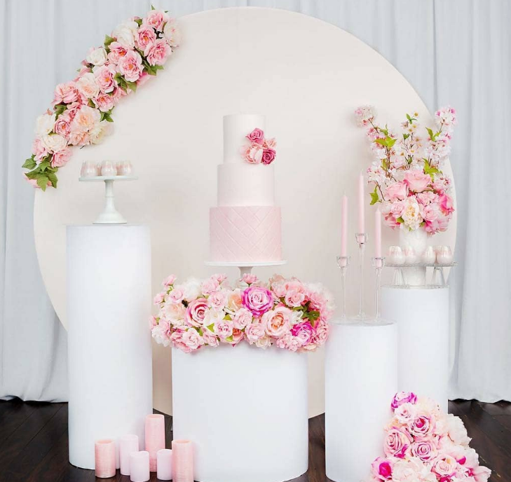 White Acrylic Cylinder Pedestal With Round Plinth For Wedding Decoration Backdrop Display Stand Rack