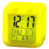 Custom Logo 7 LED Colour Changing Mini Cube LED Digital Alarm Clock with Night Light for Kids