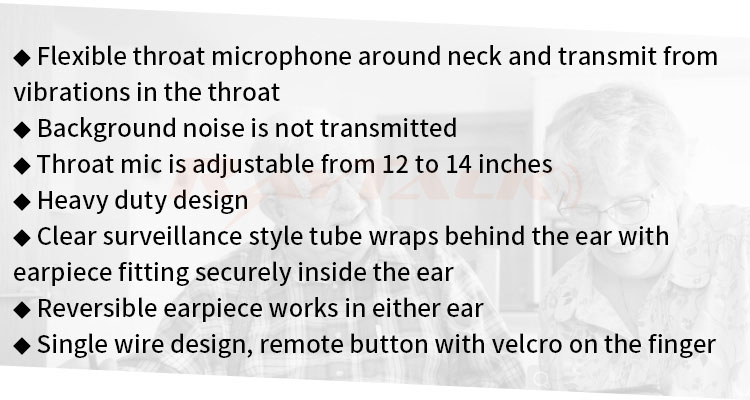Noise canceling throat microphone clear tube earpiece for two way communication