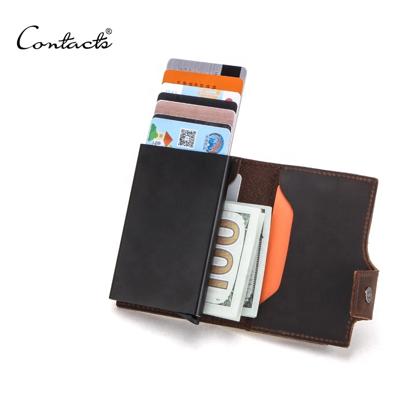 dropship CONTACTS coffee color small <strong>wallet</strong> wholesale black pop up metal case box for 7 cards mens cardholder with coin pocket