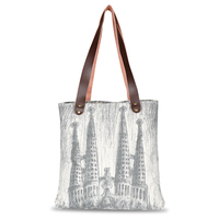 cotton canvas tote bag Lineart style print custom leather handle