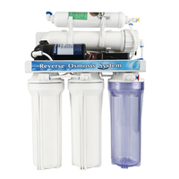 Household manual-flush 5 stage 50G reverse osmosis water filter system with clear housing