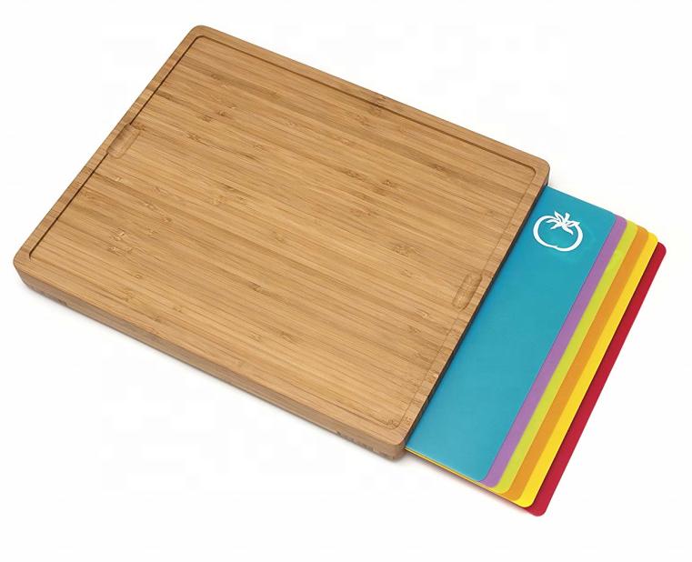 손쉬운 대나무 도마 5 색으로 폴리 인레이 유연한 절단 매트와 아이콘 세트